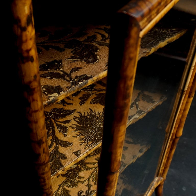 19th Century English Victorian Tiger Bamboo Lacquer Cabinet with Gilt Wallpaper For Sale 4