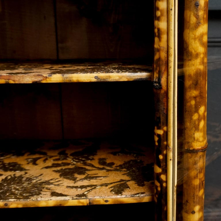 19th Century English Victorian Tiger Bamboo Lacquer Cabinet with Gilt Wallpaper For Sale 6