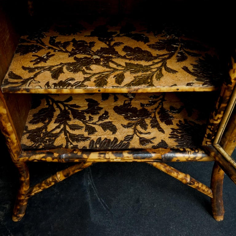 19th Century English Victorian Tiger Bamboo Lacquer Cabinet with Gilt Wallpaper For Sale 7