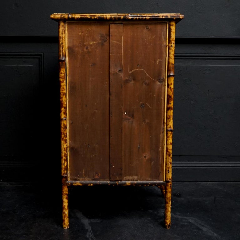 Asian 19th Century English Victorian Tiger Bamboo Lacquer Cabinet with Gilt Wallpaper For Sale