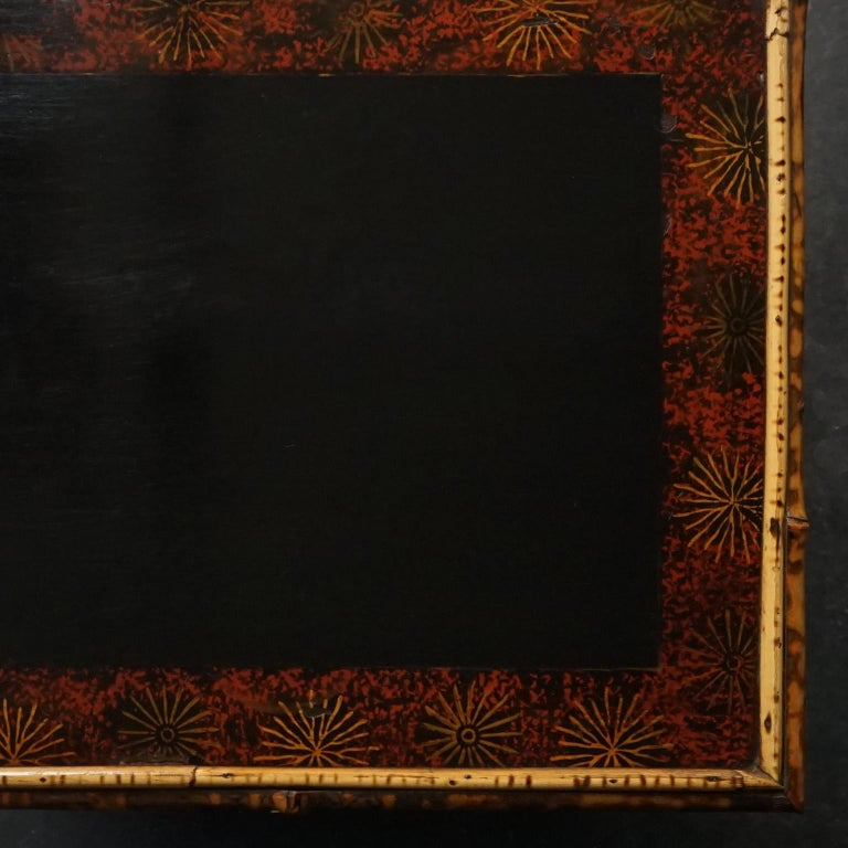 Late 19th Century 19th Century English Victorian Tiger Bamboo Lacquer Cabinet with Gilt Wallpaper For Sale