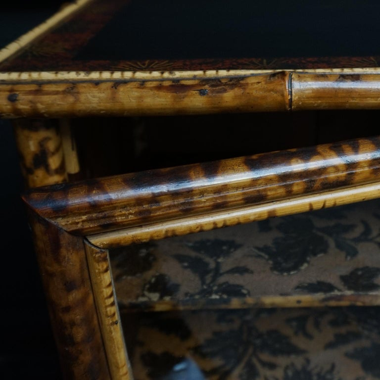19th Century English Victorian Tiger Bamboo Lacquer Cabinet with Gilt Wallpaper For Sale 2