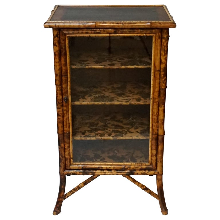 19th Century English Victorian Tiger Bamboo Lacquer Cabinet with Gilt Wallpaper For Sale