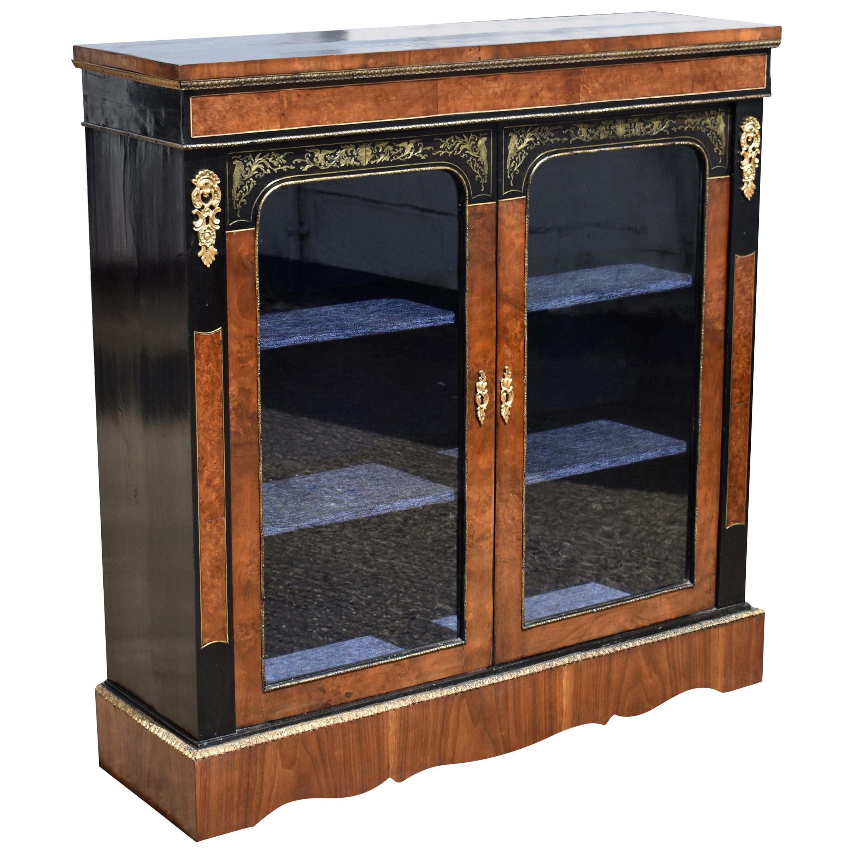 19th Century English Victorian Walnut and Ebonized Brass Inlaid Pier Cabinet