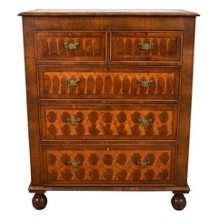 19th Century English Victorian Walnut & Oyster Veneer Chest of Drawers