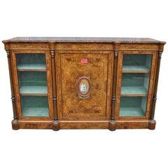 19th Century English Walnut and Burr Walnut Credenza / Server / Display Cabinet