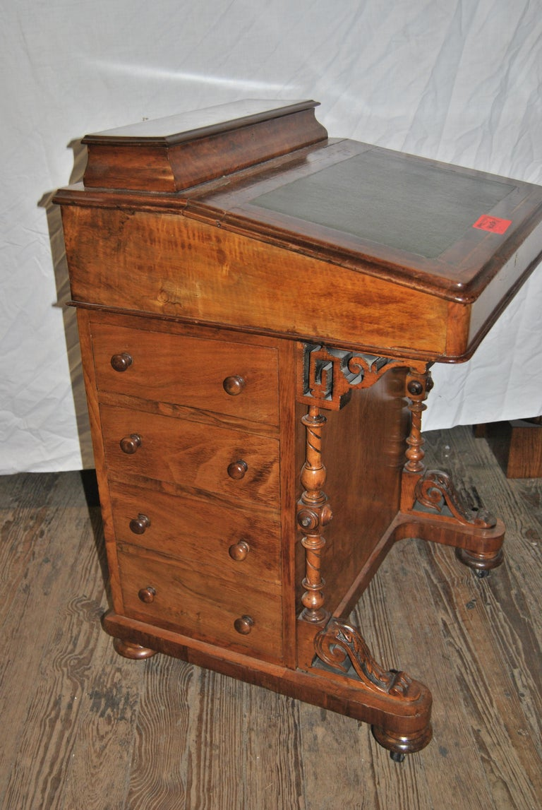 Victorian 19th Century English Walnut Davenport Desk For Sale