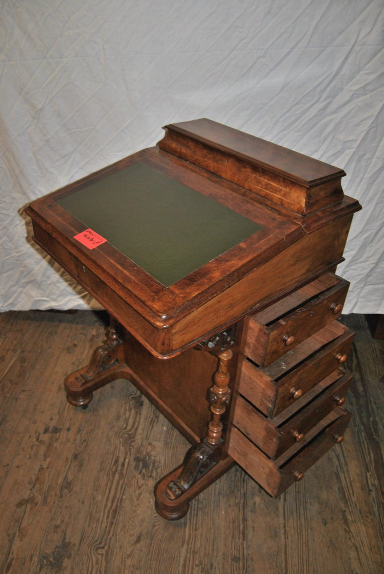 19th Century English Walnut Davenport Desk For Sale 1