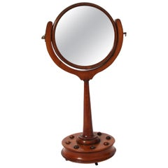 19th Century English Walnut Dressing Table Mirror with Ball Detail