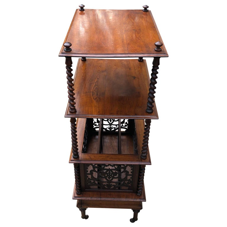 Victorian 19th Century English Walnut Ètagerè and Music Stand For Sale