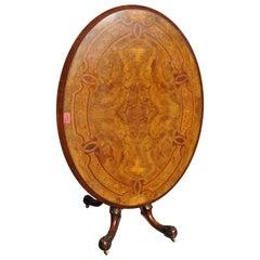 19th Century English Walnut Inlaid Tilt-Top Table