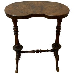 19th Century English Walnut Kidney Shaped Side Table, c.1880