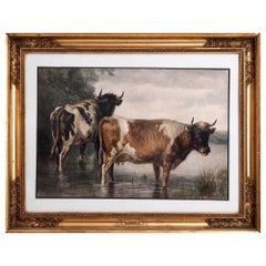 19th Century English Watercolor of Cows By Thomas S. Cooper