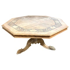 19th Century English William III Carved and Bleached Wood Center Table