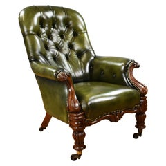 19th Century English William IV Mahogany Hand Dyed Leather Library Chair