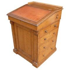 19th Century English William IV Oak Davenport Writing Table