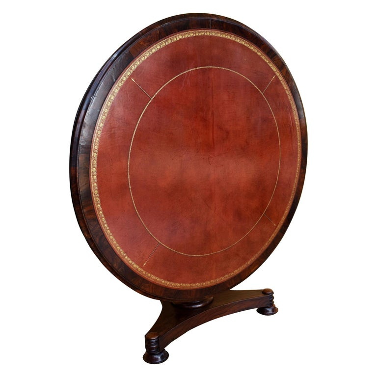 19th Century English William IV Rosewood Circular Library Table