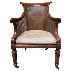 19th Century English William IV Walnut Library Chair with Cane