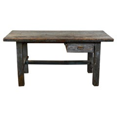 19th Century English Wood Plank Top Work Table