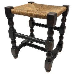 19th Century English Wood Stool with Rush Seat
