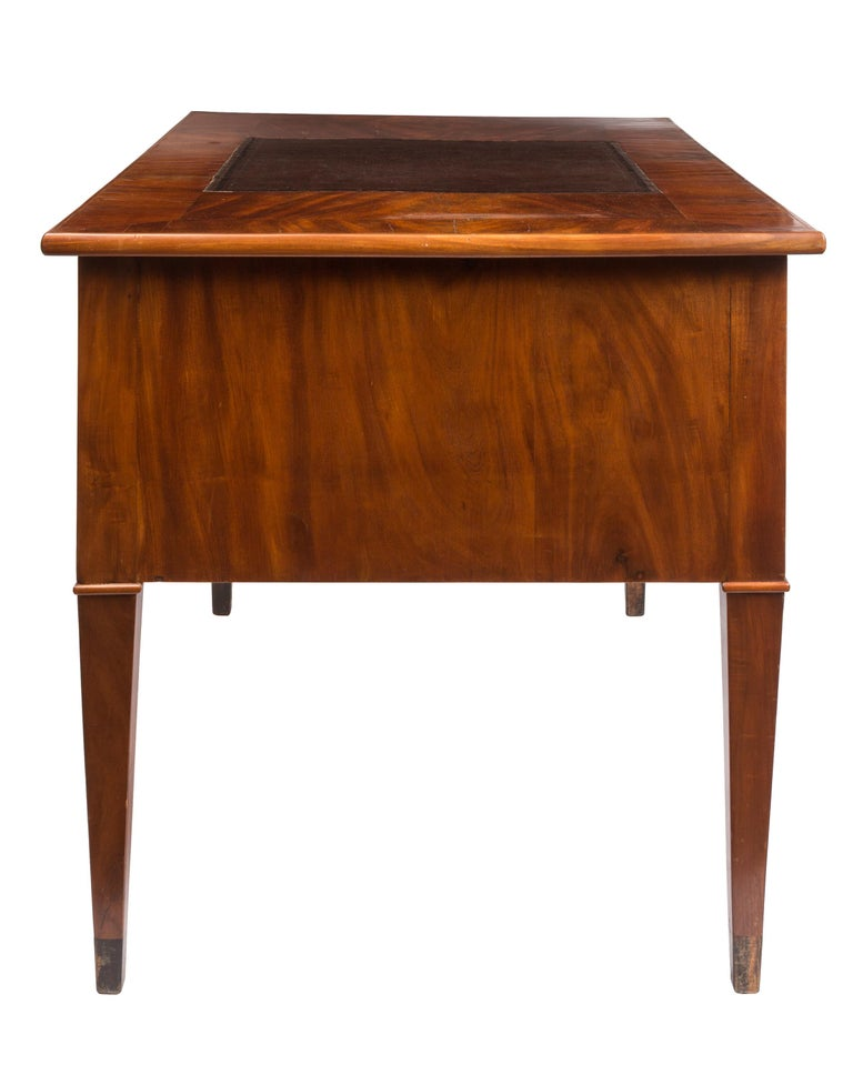 Regency 19th Century English Writing Desk, Partner Style, Leather Top, Wood Grain Veneer For Sale