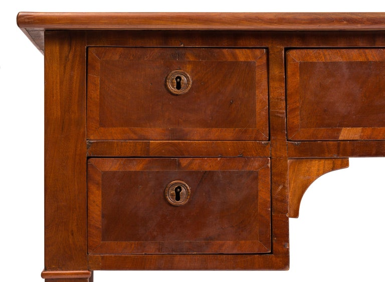 Mahogany 19th Century English Writing Desk, Partner Style, Leather Top, Wood Grain Veneer For Sale