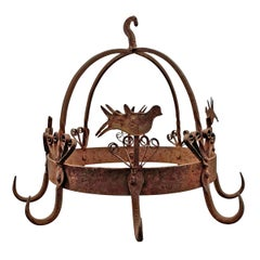 19th Century English Wrought Iron Dutch Crown Game Rack