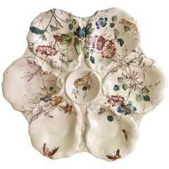 19th Century Englisy Oyster Plate With Flowers