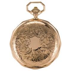 19th Century Engraved 18 Karat Rose Gold Breguet Machenery Pocket Watch
