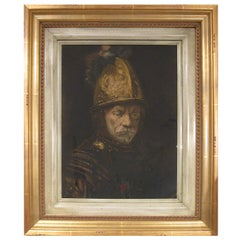 """19th Century Engraved Replica of """"The Man with the Golden Helmet"""" circa 1650"""