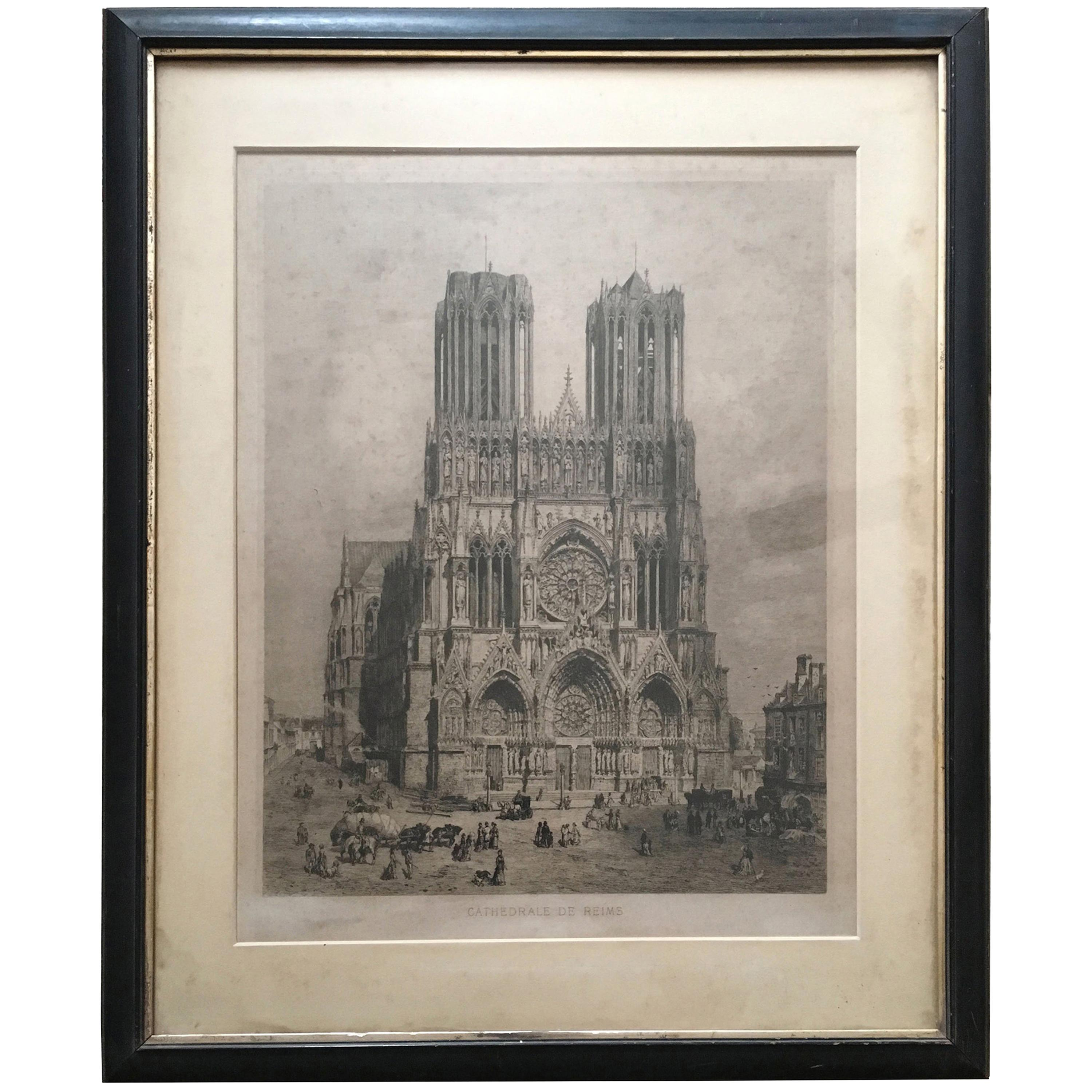 """19th Century Engraving of """"Cathedrale de Reims"""""""