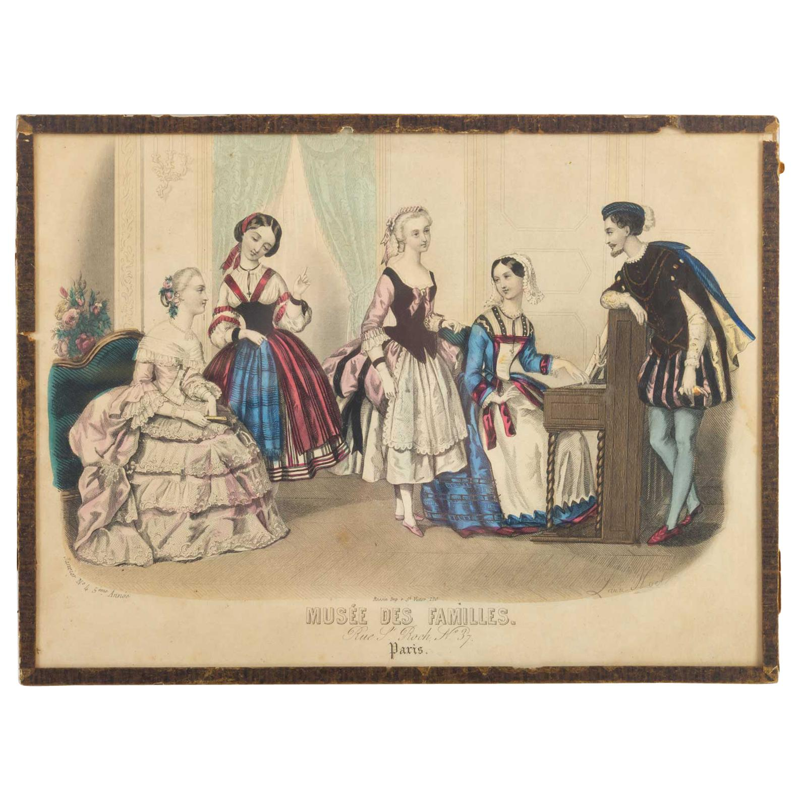 """19th Century Engraving, under Glass, Depicting """"the Family Museum"""""""