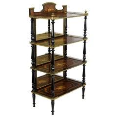 19th Century Etagère Shelves Napoleone III Walnut Maple Black