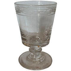 19th Century Etched Glass Goblet or Chalice with Leaf Motif