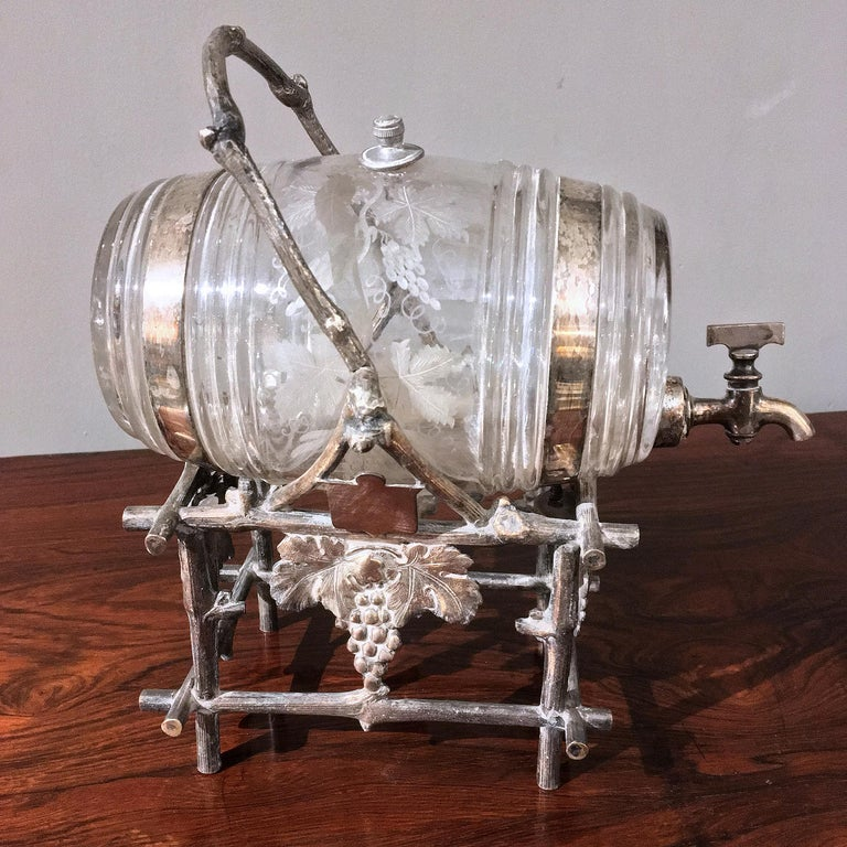 Cast 19th Century Etched Glass Liquor Barrel on a Silver Plated Stand For Sale