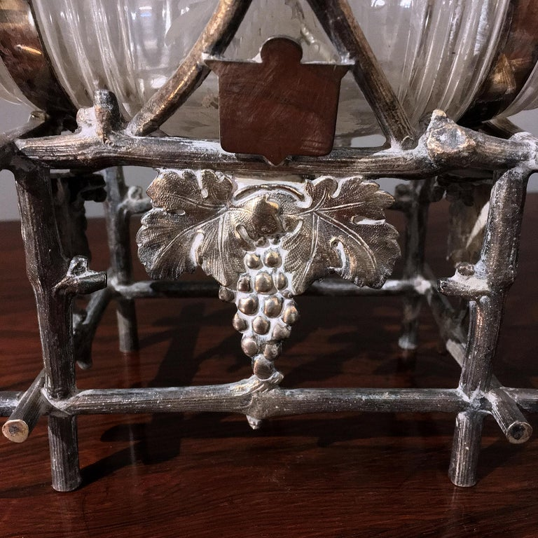 Late 19th Century 19th Century Etched Glass Liquor Barrel on a Silver Plated Stand For Sale