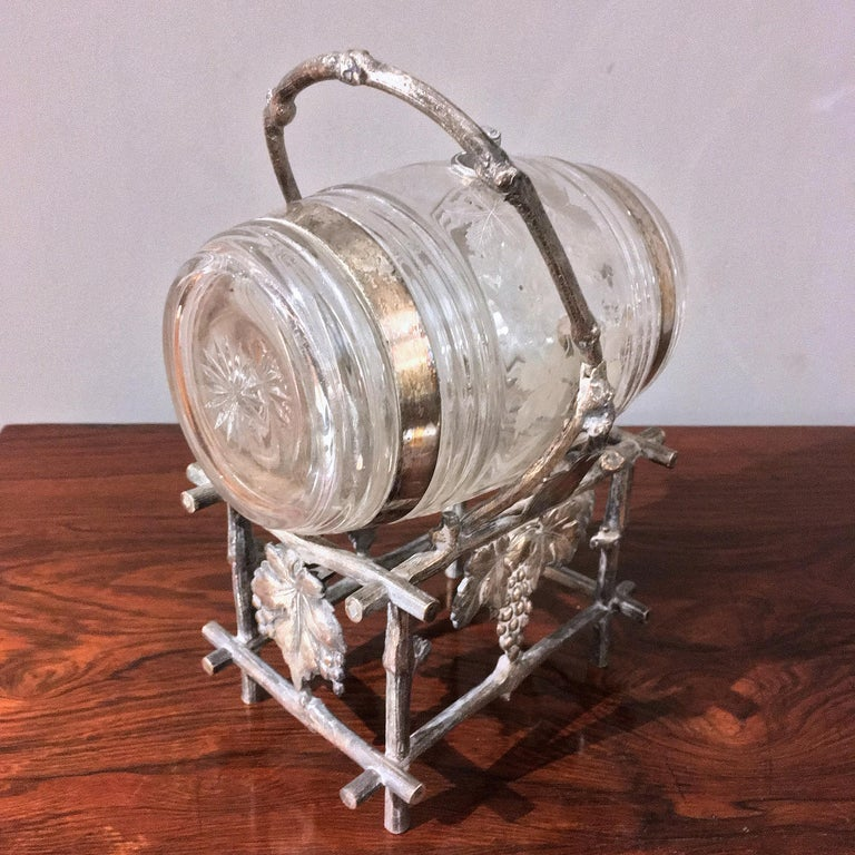19th Century Etched Glass Liquor Barrel on a Silver Plated Stand For Sale 2