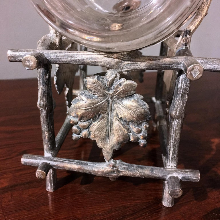 19th Century Etched Glass Liquor Barrel on a Silver Plated Stand For Sale 3