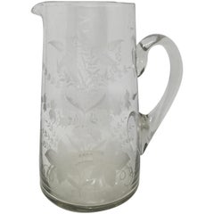 19th Century Etched Glass Pitcher