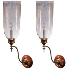 19th Century Etched Hurricane Shade Sconces