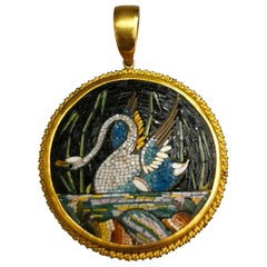 19th Century Etruscan Revival Micromosaic Swan Yellow Gold 22 Karat Pendant