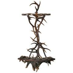 19th Century, European, Antler Gun Rack and Stand, Brown, Wood