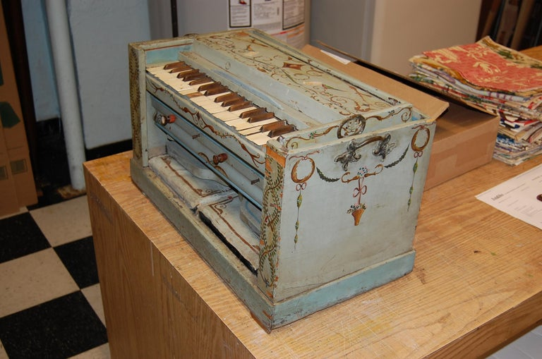 19th Century European Childs Pump Organ in Decoratively Painted Wood Case For Sale 6