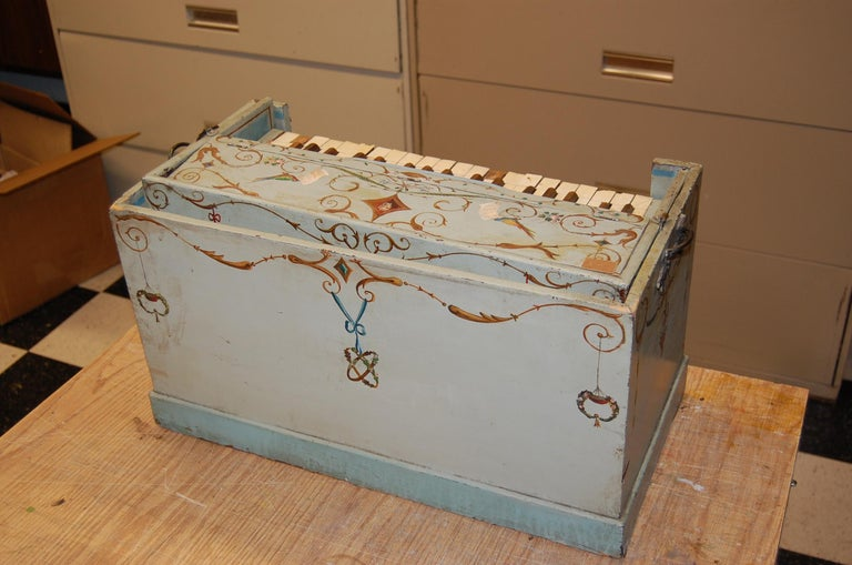 19th Century European Childs Pump Organ in Decoratively Painted Wood Case For Sale 7