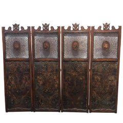 19th Century European Embossed Leather Screen