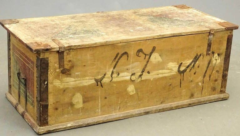 Hand-Crafted 19th Century European Hand Painted Blanket Chest For Sale