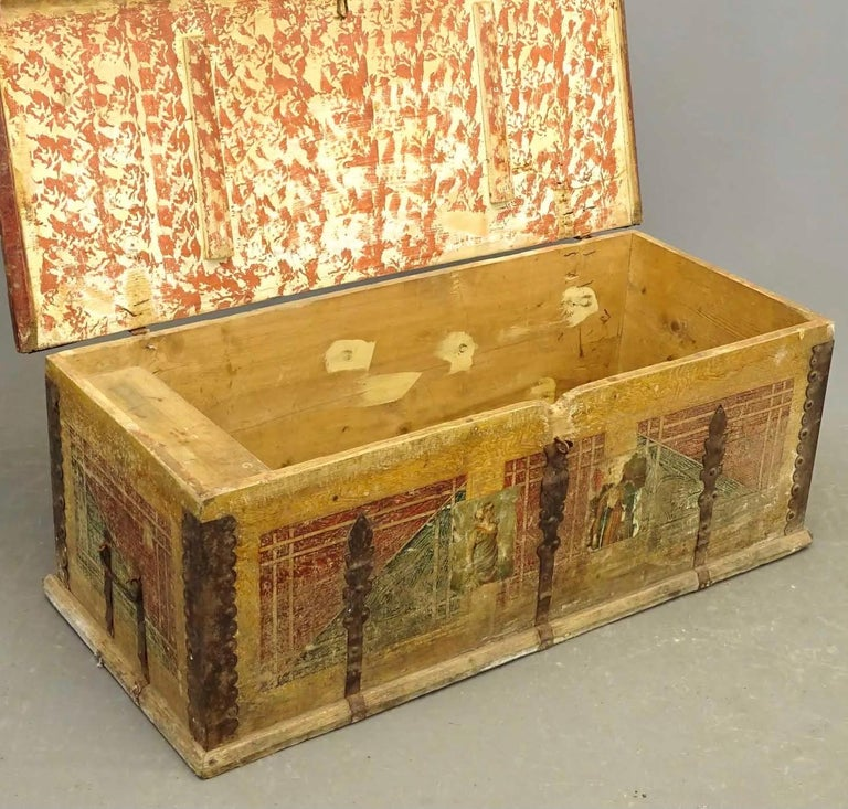 19th Century European Hand Painted Blanket Chest In Distressed Condition For Sale In Great Barrington, MA