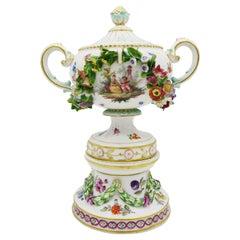 19th Century European Hand Painted White Meissen Porcelain Vase on Pedestal