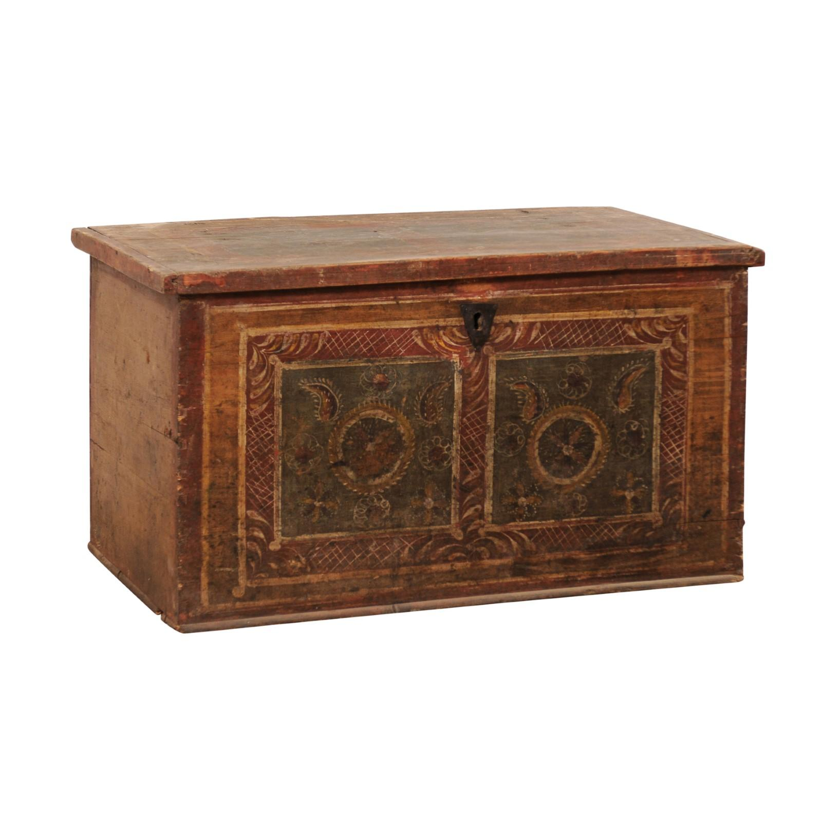 19th Century European Hand Painted Wooden Coffer Trunk