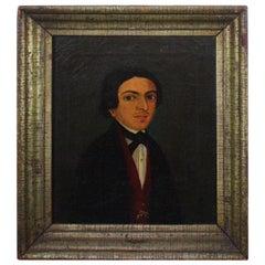 19th Century European School Oil Canvas Half Length Portrait of a Gent Dandy